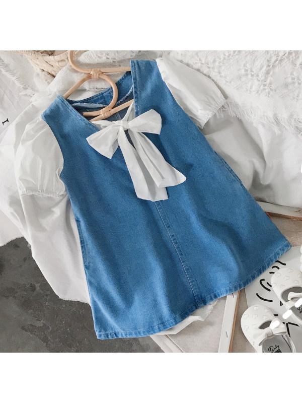 【18M-7Y】Sweet Bow Puff Sleeve Denim Dress