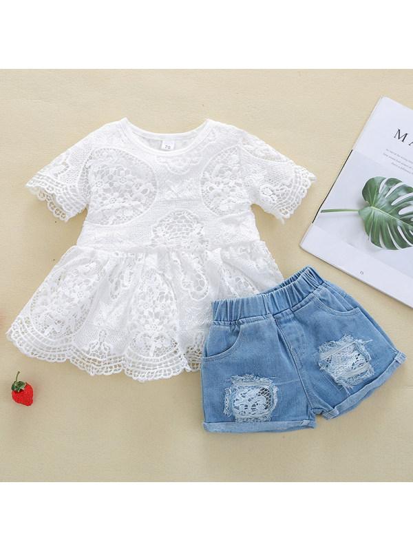 【18M-5Y】Girl Sweet Lace Top Denim Shorts Set