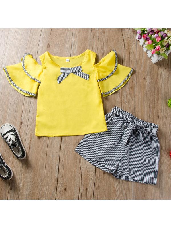 【2Y-13Y】Girls Fashion Off-shoulder Tops Plaid Shorts Set