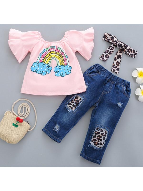【12M-5Y】Girls Sweet Rainbow Pattern Short Sleeve T-shirt Jeans Set