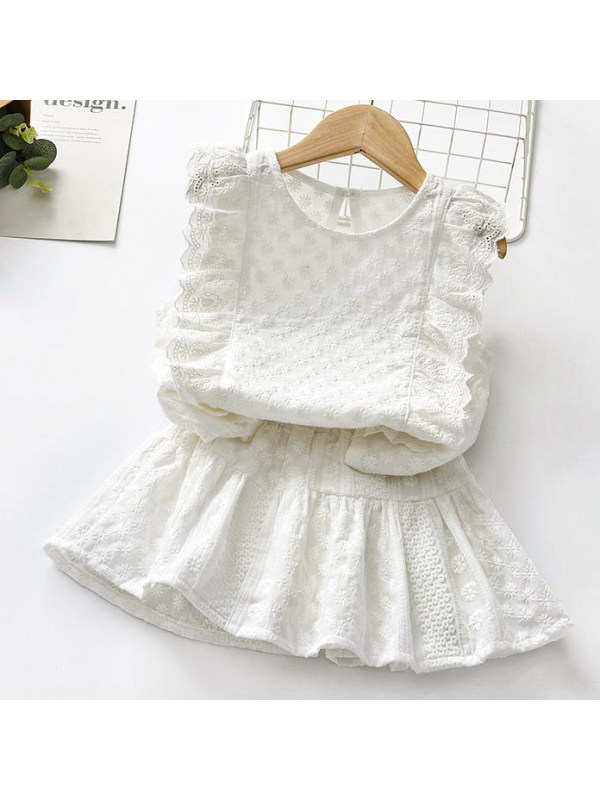 【18M-7Y】Sweet Flower Embroidery White Set