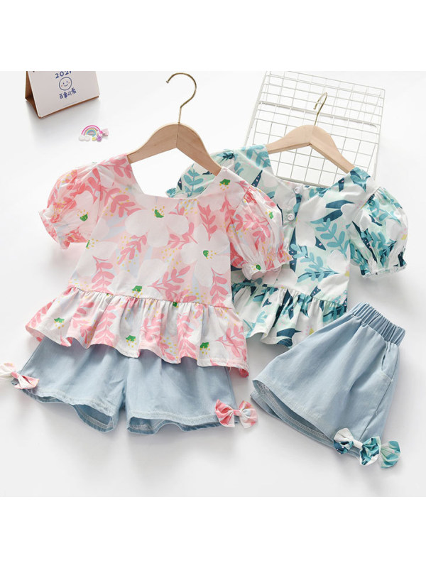 【18M-7Y】Sweet Leaf Print Shirt and Blue Shorts Set