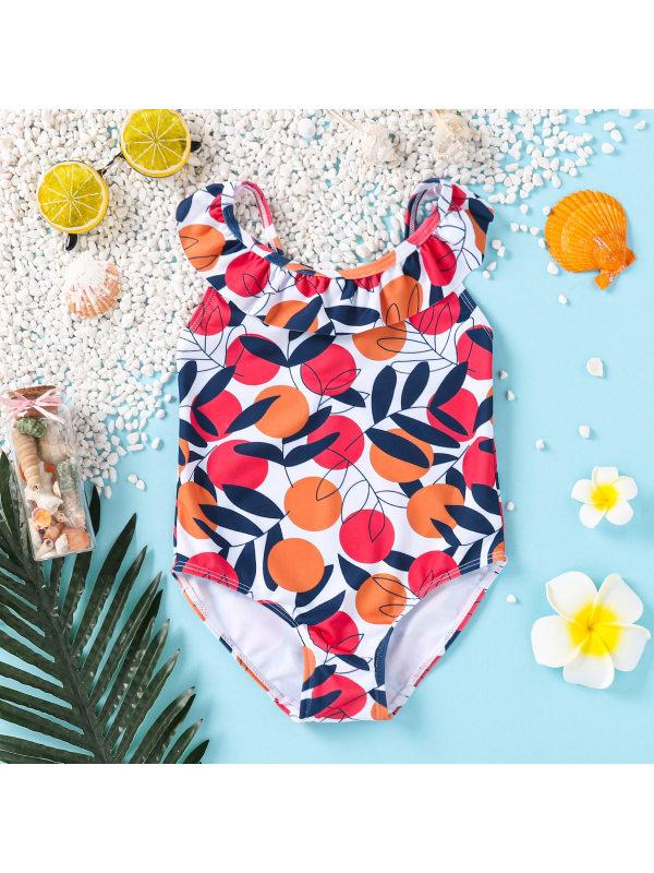 【3M-3Y】Girls Orange Print Bare-back One-piece Swimsuit