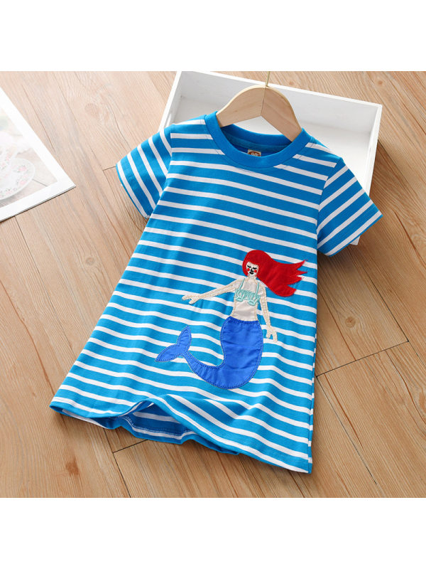 【18M-7Y】Cute Cartoon Embroidered Striped Dress