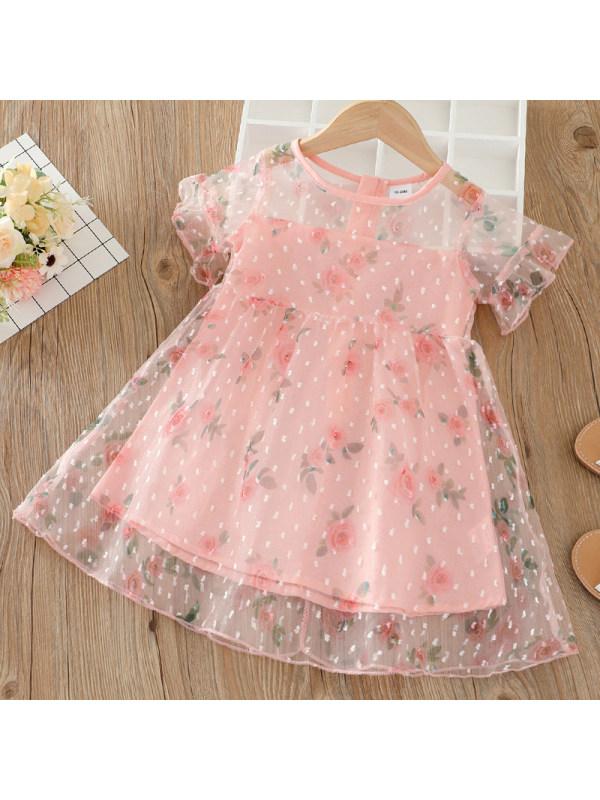 【18M-7Y】Girl Sweet Pink Chiffon Flower Short Sleeve Dress
