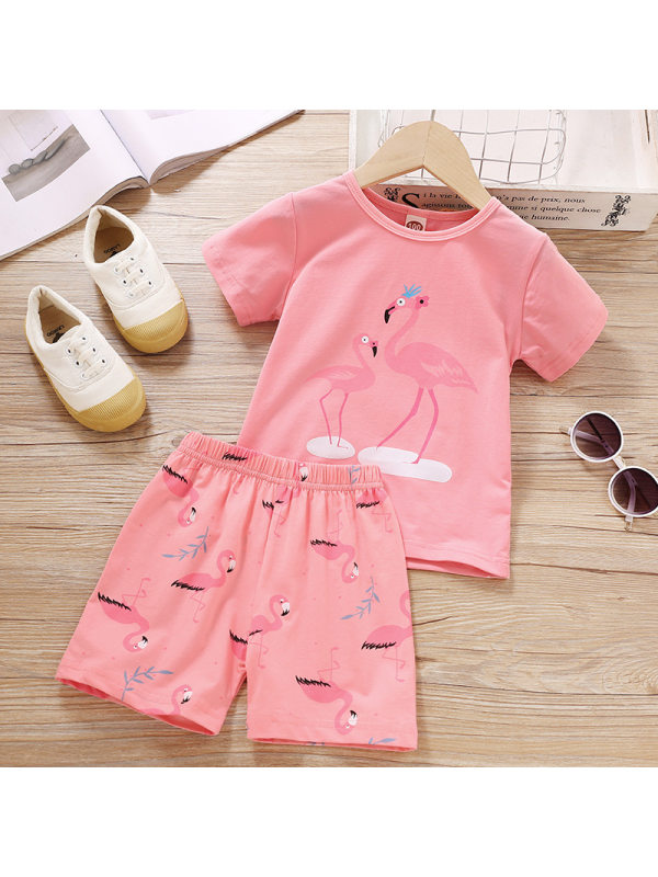 【18M-7Y】Girl Cartoon Pattern Short-sleeved T-shirt Shorts Set