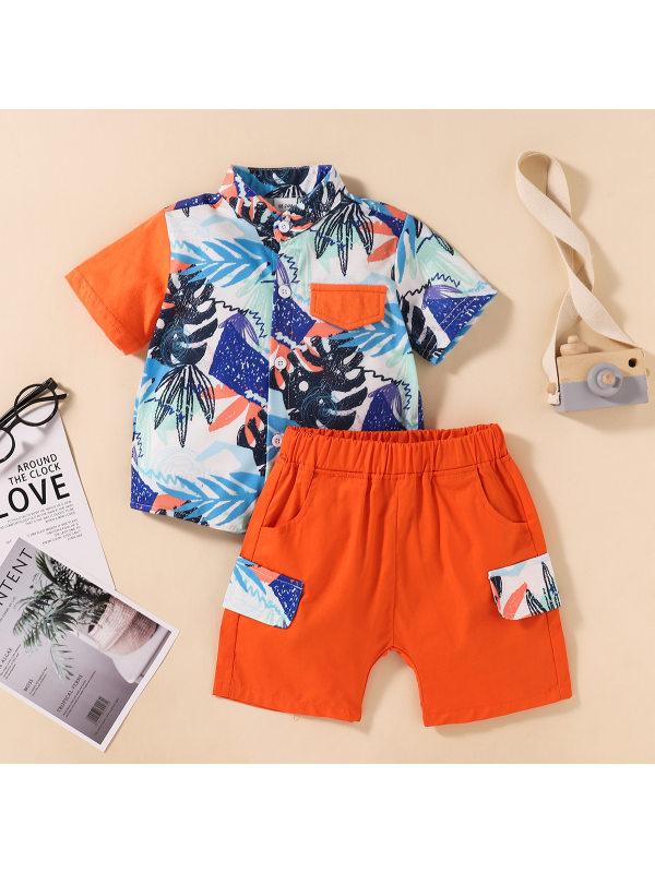 【18M-6Y】Boys Coconut Leaf Print Lapel Short Sleeve Top Shorts Set