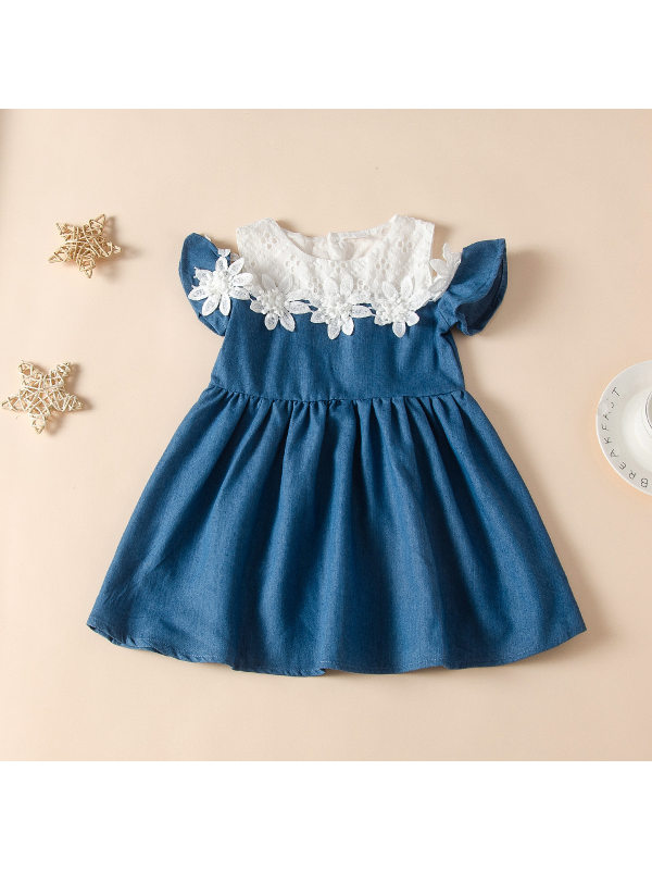 【18M-7Y】Girls Fashion Strapless Floral Lace Stitching Dress