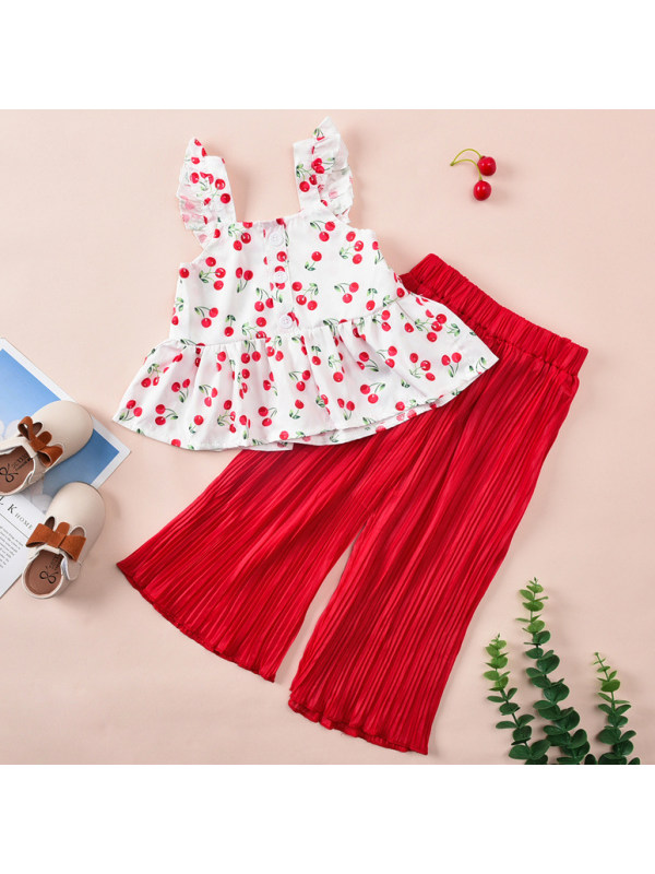 【18M-7Y】Sweet Cherry Print Top and Red Pants Set