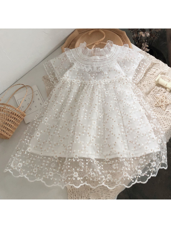 【18M-7Y】Sweet Flowers and Sequins Embroidered White Dress