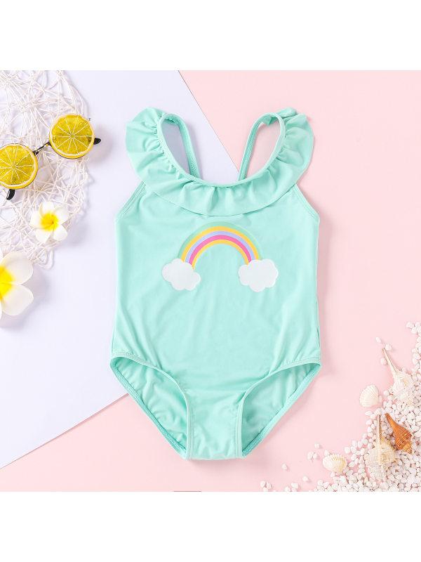 【3M-3Y】Girls Ruffled Bare-back Rainbow Print One-piece Swimsuit