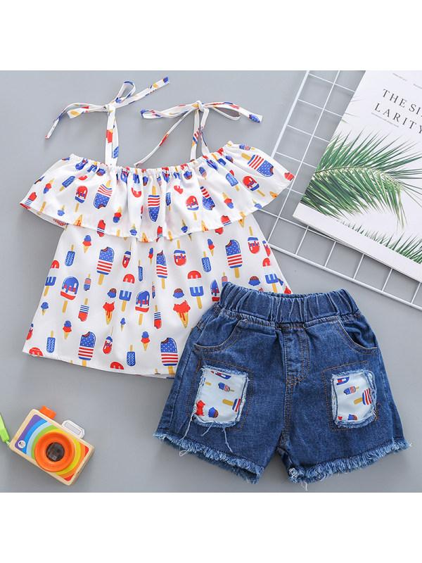 【18M-7Y】Girls Sweet Ice Cream Pattern Off-the-shoulder Top Denim Shorts Set
