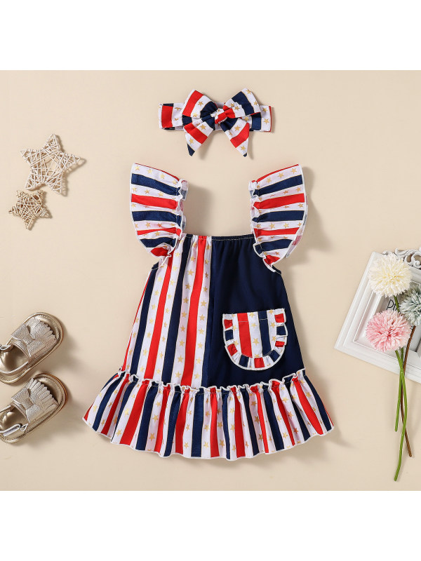 【3M-24M】Girls Striped Contrast Sleeveless Dress with Headband