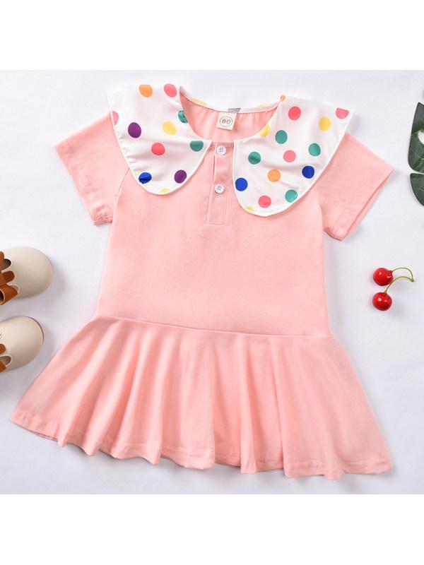 【12M-5Y】Cute Colored Polka Dot Collar Pink Dress