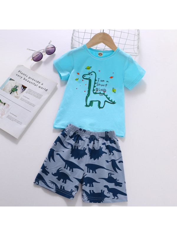 【18M-7Y】Boy Cartoon Pattern Short-sleeved T-shirt Shorts Set