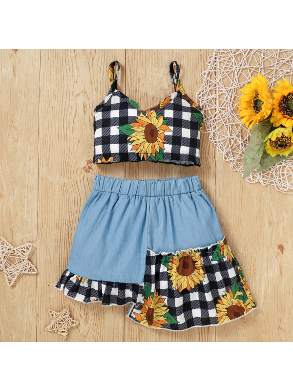 【18M-7Y】Girls Plaid Sunflower Print Camisole Top Irregular Skirt Set