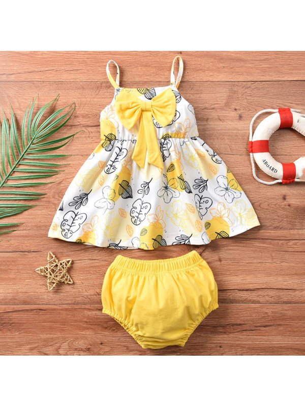 【6M-3Y】Cute Bow Top and Yellow Shorts Set