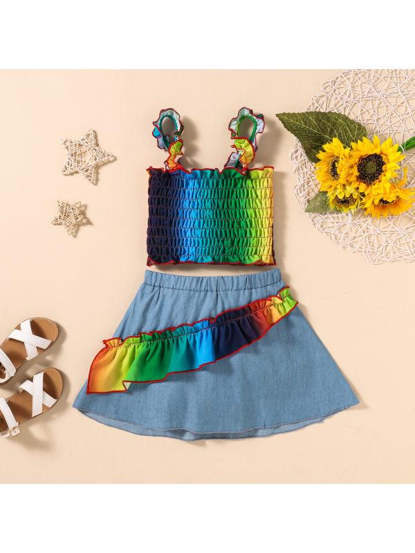 【18M-6Y】Girls Fashion Rainbow Camisole Top Stitching Denim Skirt Set