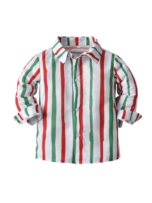 【12M-9Y】Boys' Long-sleeved Striped Shirt