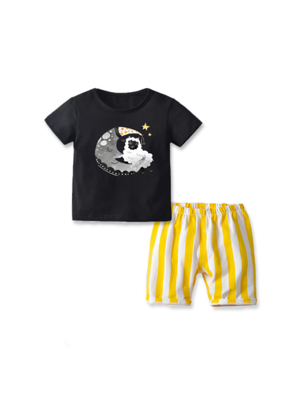 【18M-7Y】Boys Solid Color Short-sleeved T-shirt Striped Shorts Casual Two-piece Suit