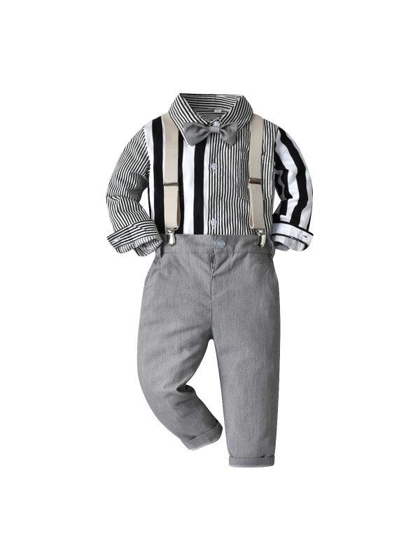 【12M-9Y】Boys Long Sleeve Ribbon Color Striped Shirt Bib Set