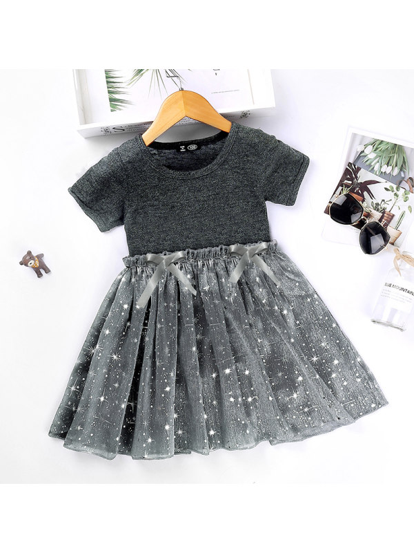 【18M-7Y】Girls Bow Star Net Yarn Short-sleeved Princess Dress