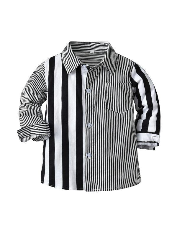 【12M-9Y】Boys Long-sleeved Striped Shirt
