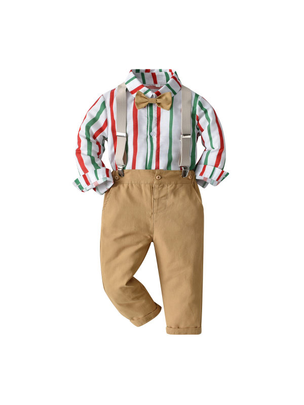 【12M-7Y】Boy Long-sleeved Tstriped Shirt Bib Casual Suit