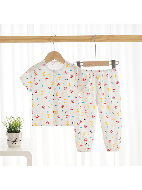 【12M-9Y】Boys Summer Round Neck Home Service Suit Cartoon Casual Two-piece Suit