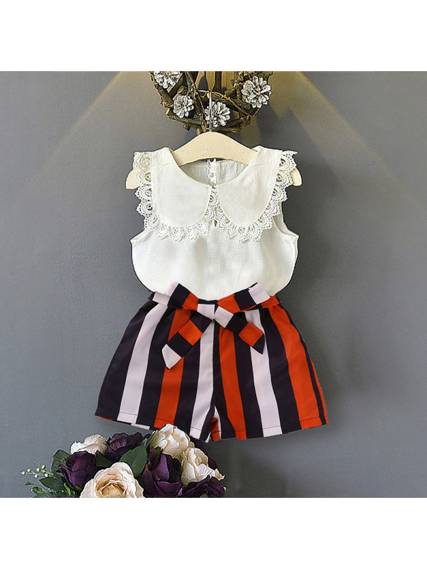 【18M-7Y】Girl Temperament Less Top Striped Shorts Suit