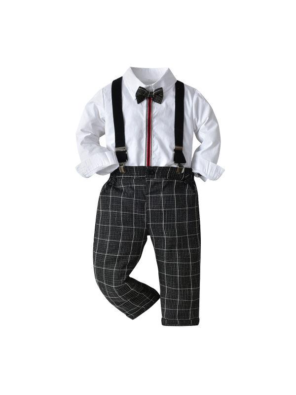 【12M-9Y】Boys Long Sleeve Striped Shirt Bib Set