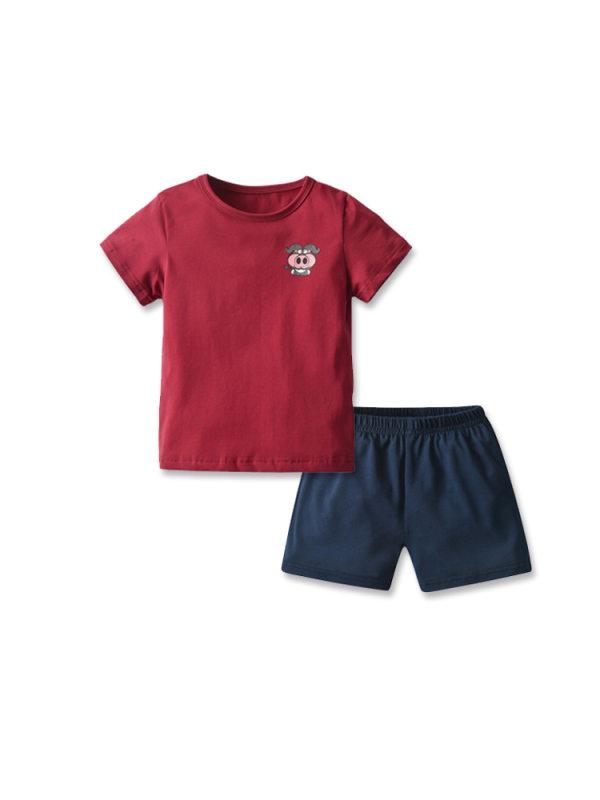 【18M-7Y】Boys Short-sleeved Cartoon Animal T-shirt Shorts Suit