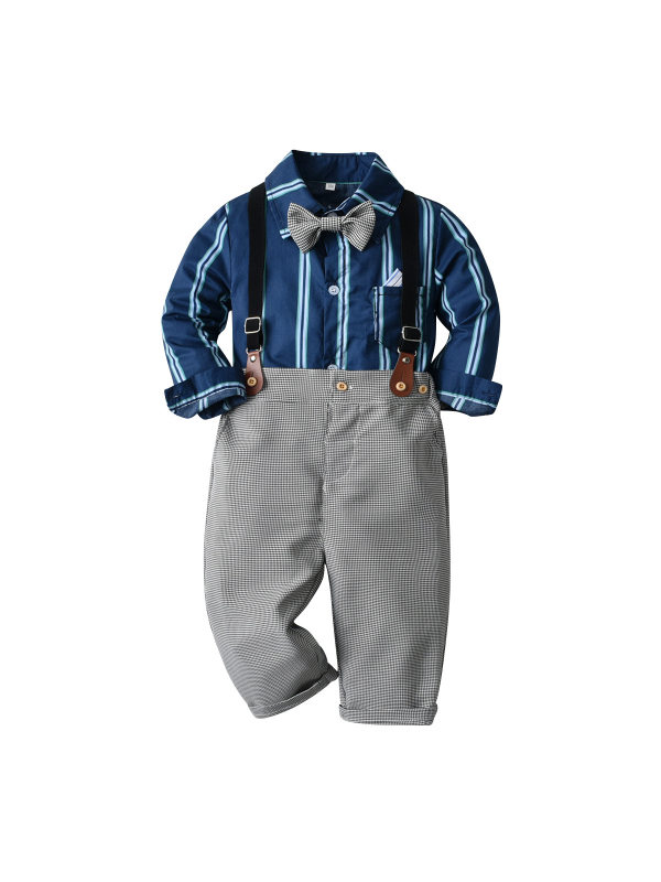【12M-9Y】Boys Long-sleeved Striped Shirt Suspenders Trousers Four-piece Suit
