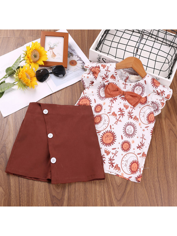 【12M-5Y】Girls Print Flying Sleeve Blouse Culottes Two-piece Suit