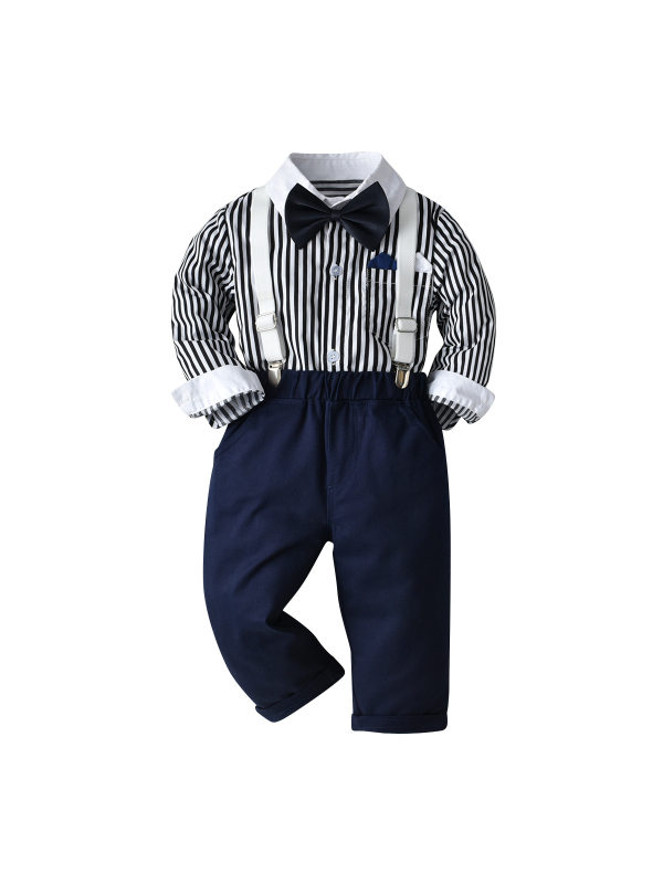 【12M-9Y】Boys' Long-sleeved Striped Shirt Suit
