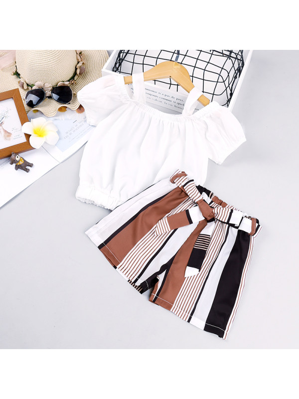 【18M-7Y】Girl Sling Strapless Top Striped Shorts Suit