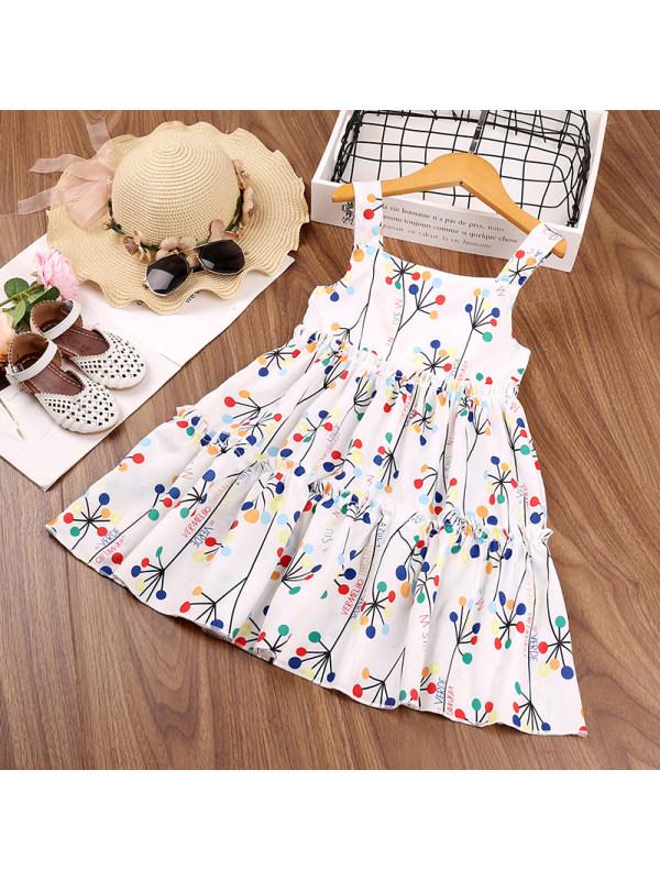 【18M-7Y】Girls Sleeveless Flower Letter Print Dress