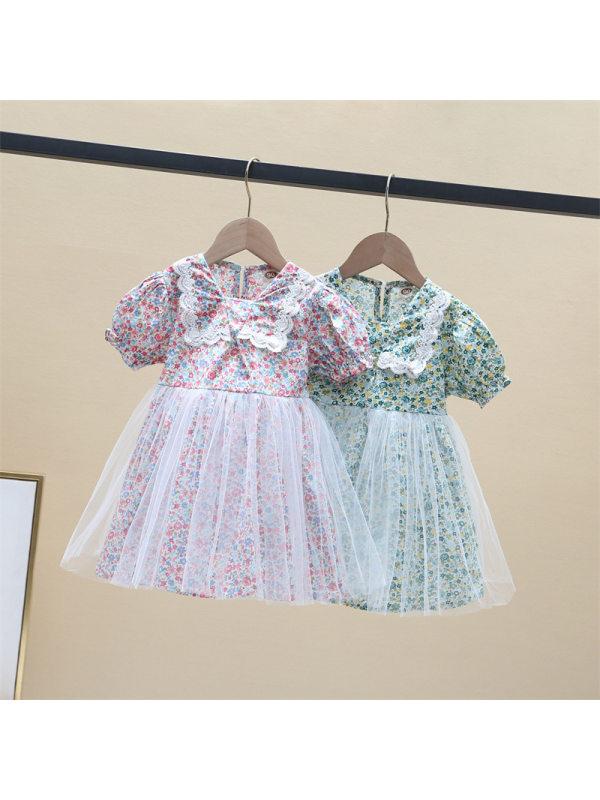 【18M-9Y】Girls Chiffon Floral Net Gauze Skirt