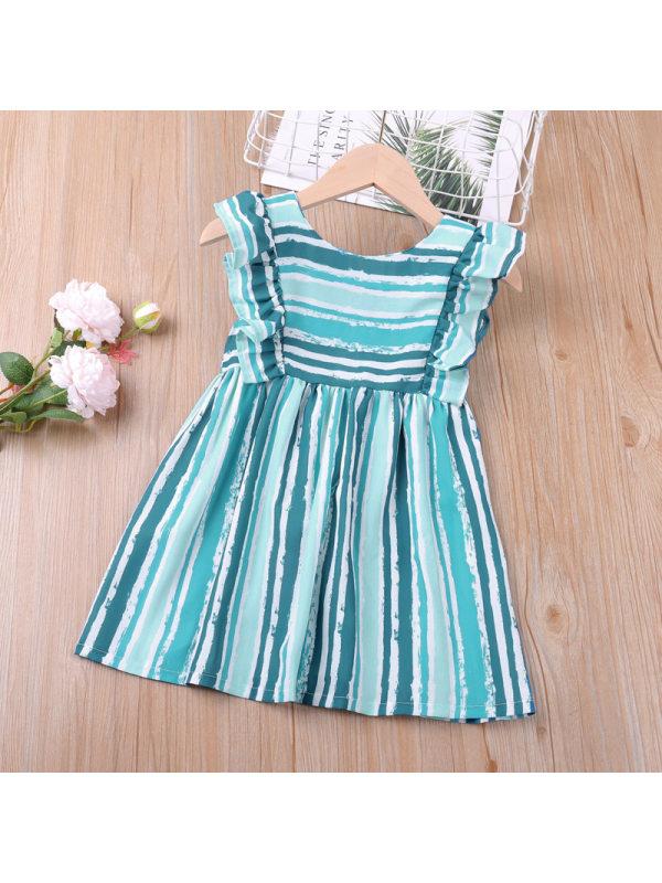 【18M-7Y】Girls Color Stiching Sleeveless Striped Dress
