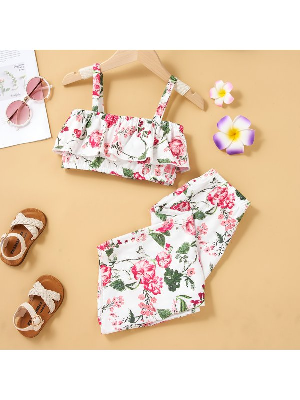 【18M-7Y】Girls White Print Suspender Top And Long Trousers Suit
