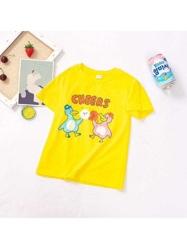 【12M-7Y】Girls Cartoon Letters Print Round Neck Short Sleeve T-Shirt