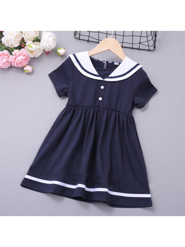 【18M-7Y】Girls College Style Square Neck Short Sleeve Dress
