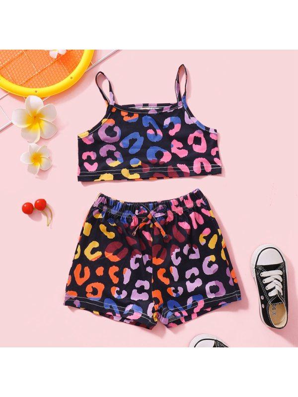 【18M-7Y】Girls' Sling Color Leopard Print Top Mid-waist Shorts Suit