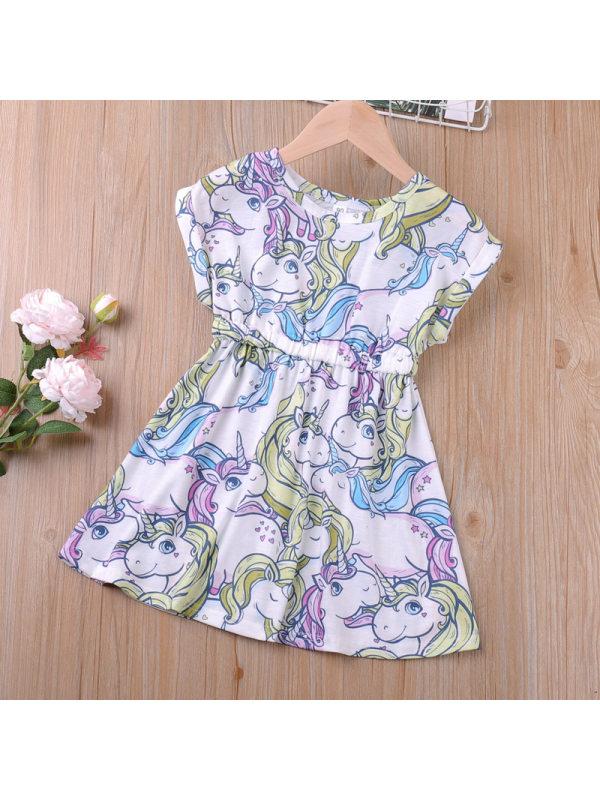 【18M-7Y】Girls Pony Print Sleeveless Dress