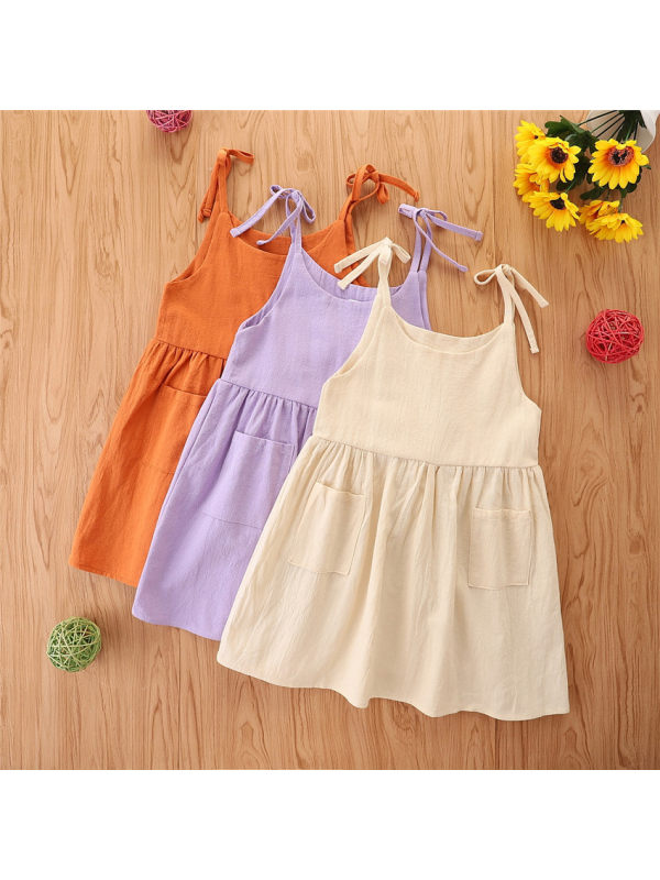 【12M-4Y】Cute Sling Solid Color Dress For Baby Girl