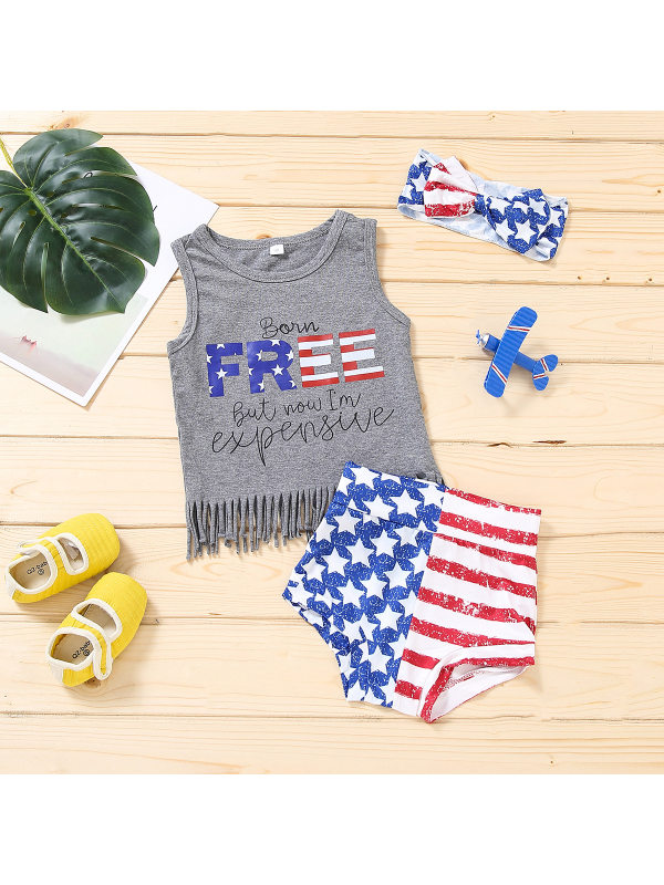 【6M-3Y】Baby Girl American Independence Day Sleeveless Tank Top and Shorts Bow Three-piece Suit