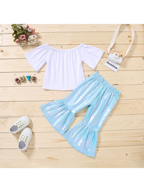 【18M-7Y】Girls Round Neck Short-sleeved Top with Laser Flared Pants Suit