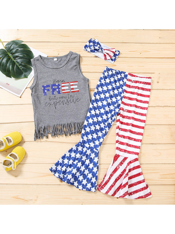 【18M-7Y】Girls Tasseled Vest and Independence Day Printed Flared Pants and Bow Three-piece Set