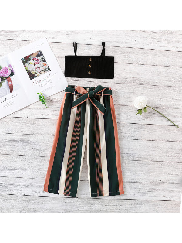 【18M-7Y】Girls' Waist Strap With Striped Trousers Two-piece Suit