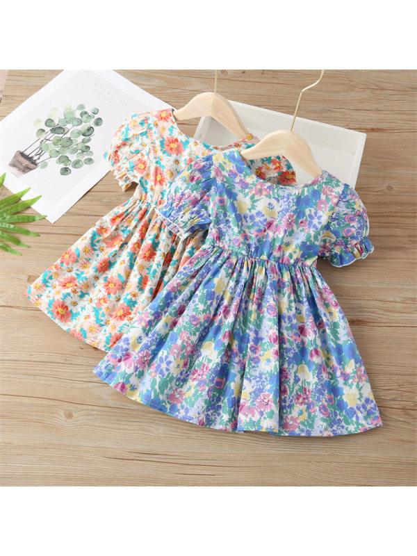 【18M-9Y】Girls Round Neck Puff Sleeve Floral Dress